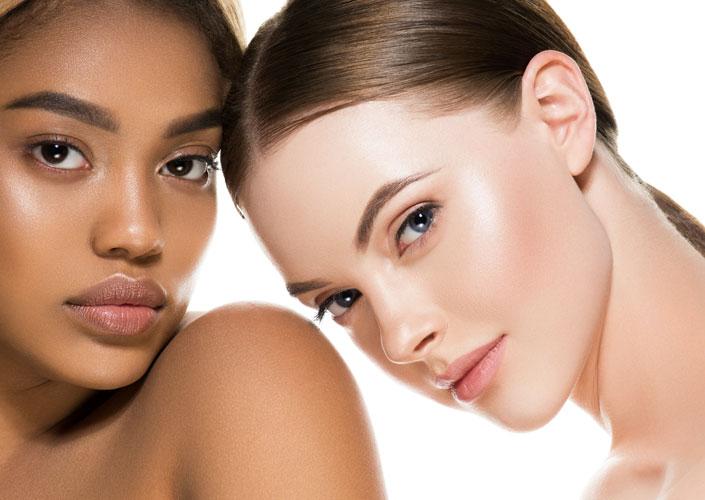 two women showing facial contours