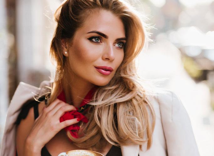 woman showing luscious lips